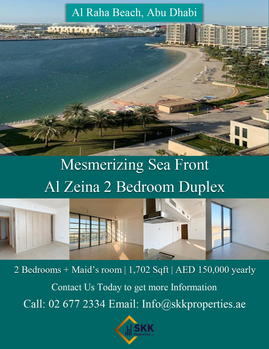 Fantastic opportunity to move in this lovely 2 bedroom duplex in Al Zeina, Al Raha Beach.  Call us today to get this amazing offer.  Contact: 026772334 Email: info@skkproperties.ae  #UAE #abiduabi #Properties #Apartments #Spaciousrooms #Good#realty #brokerage #realestate https://t.co/MdltV2eZLa