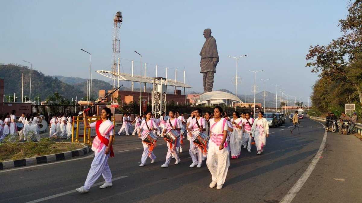 In pics; Rashtra Sevika Samiti, Gujarat holds sammelan, march past at Statue of Unity