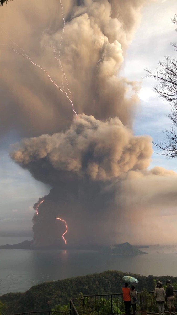 Taal volcano eruption on January 12, 2020 with lightning.