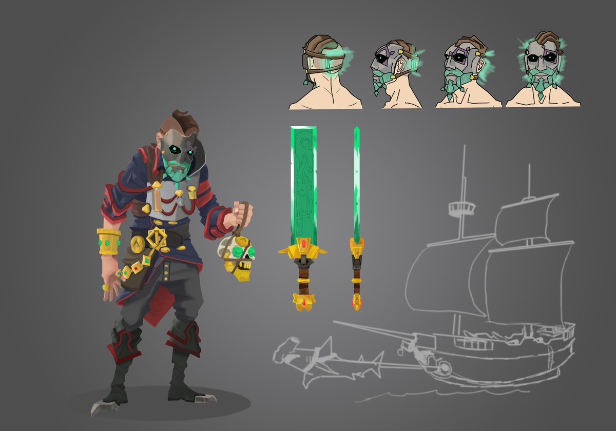 @SeaOfThieves @RareLtd @Captain_Falcore I tried doing the SOT style hope it looks good, he got multiple curses, he roams on a ghost ship which has a hammerhead spirit, his sword is made from the shroudbreaker :D btw if it's blurry zoom in and allow it load :D