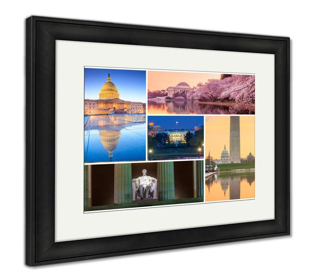 Framed Print, Washington Dc Famous Landmarks Picture Collage is now available in our shop for only $149.95. Buy it now