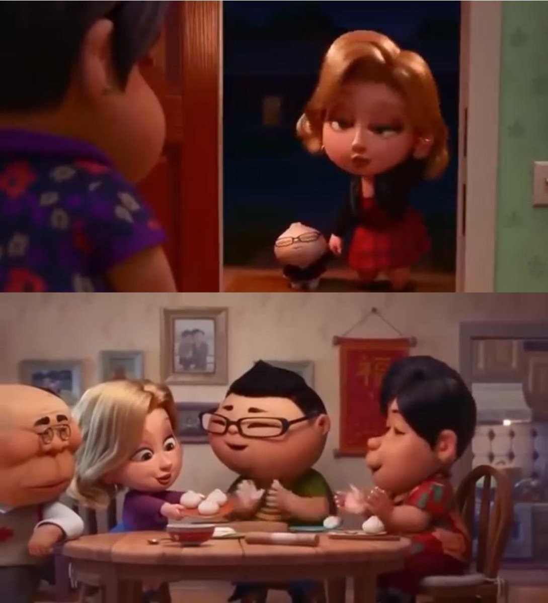 In the Pixar short film 'Bao' (2018), the white woman is first seen dressed a bit immodestly and with heavy makeup but later is seen dressed modestly with little makeup. This is meant to juxtapose who the mother saw her as initially vs who she actually was  (via u/patthepatriot) <br>http://pic.twitter.com/gNCmKmew2k