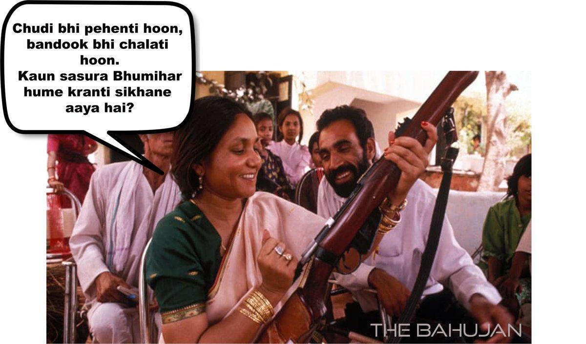 Dear @kanhaiyakumar, Bahujan women wear chudis and picks up the gun too, when necessary.Don't ever fucking demean them with your misogynist jibs.