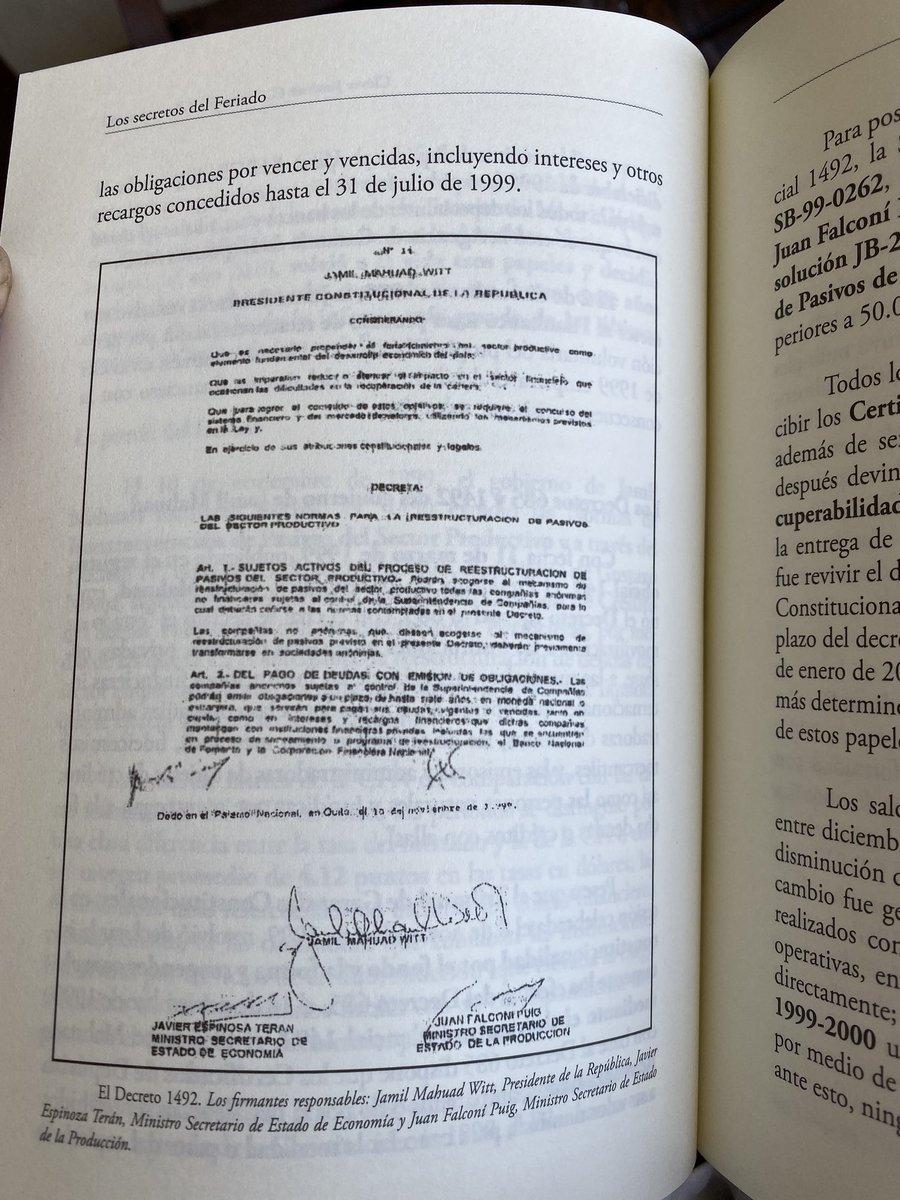 Aquí está el decreto 1492 elaborado por Pedro Delgado y Juan F Puig, suscrito por Jamil Mahuad, autorizando la recepción de CDRs o papeles basura. Ese decreto provocó un atraco de $1100 millones a la CFN. Delgado y Falconí fueron los mimados de @MashiRafael Lean el libro no duele
