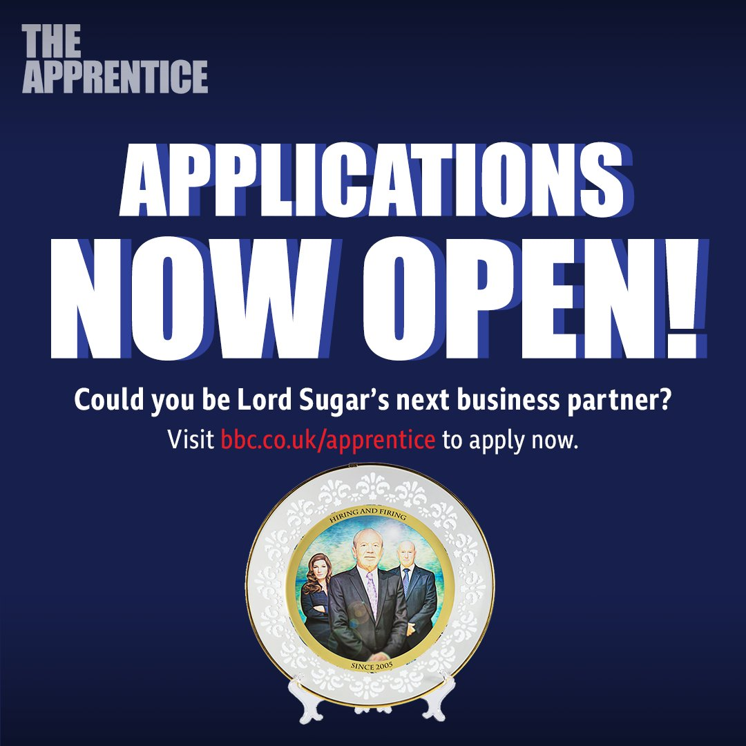 Got a business plan? Think it might impress Lord Sugar? If so, apply for #TheApprentice in 2020 right here: bbc.co.uk/apprentice