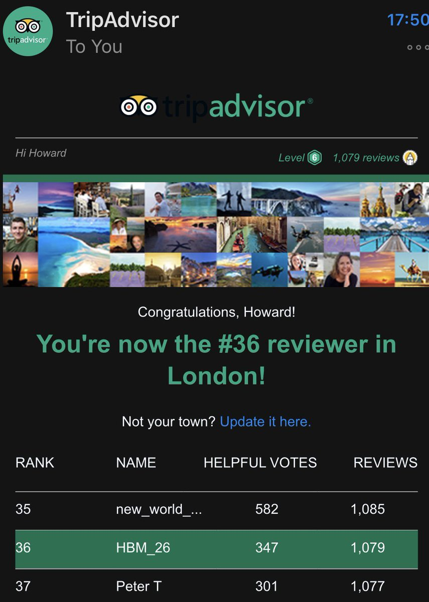 Congrats to our founder, Howard Morgan - now #36 Tripadvisor reviewer in London #customerexperience