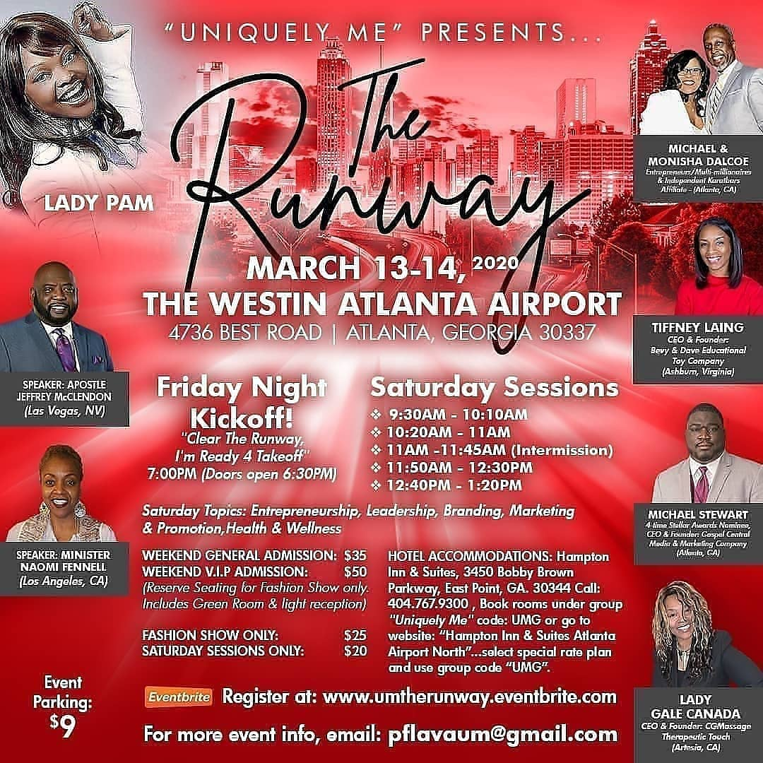 U Don't Want 2 Miss This  #TheRunway #Empowering #Inspiring #Motovating #Encouraging #Epic #UniquleyMe #Fashion #Entertainment #Event #Beauty #Wellness #Entrepreneur #Leadership #Branding #Vision #Purpose #Passion #Goals #Dream https://umtherunway.eventbrite.com pic.twitter.com/cJKkg99FQA