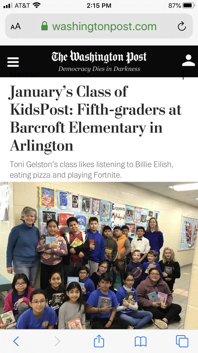 So excited for these <a target='_blank' href='http://twitter.com/BarcroftEagles'>@BarcroftEagles</a> appearing in <a target='_blank' href='http://twitter.com/washingtonpost'>@washingtonpost</a> KidsPost. These Eagles are reading widely & thinking deeply about their world. Webpage below. Looking for print version. <a target='_blank' href='http://twitter.com/GabyRivasAPS'>@GabyRivasAPS</a> <a target='_blank' href='http://twitter.com/teachnpe'>@teachnpe</a> <a target='_blank' href='http://twitter.com/MsHyattinThird'>@MsHyattinThird</a> <a target='_blank' href='http://twitter.com/krumbiegelgirl'>@krumbiegelgirl</a> <a target='_blank' href='http://twitter.com/TheNinjaLawyer'>@TheNinjaLawyer</a> <a target='_blank' href='http://twitter.com/MsHyattinThird'>@MsHyattinThird</a> <a target='_blank' href='https://t.co/A8x6OBoWeE'>https://t.co/A8x6OBoWeE</a>