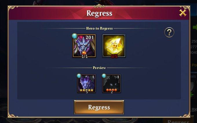Chức năng Regress trong Trials of Heroes
