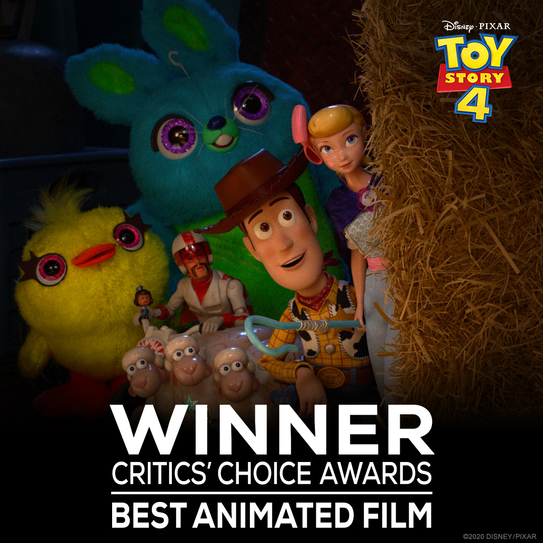 Congratulations to Toy Story 4 for its Critics' Choice Award win for Best Animated Feature! #CriticsChoice https://t.co/dHPYyAlN4L