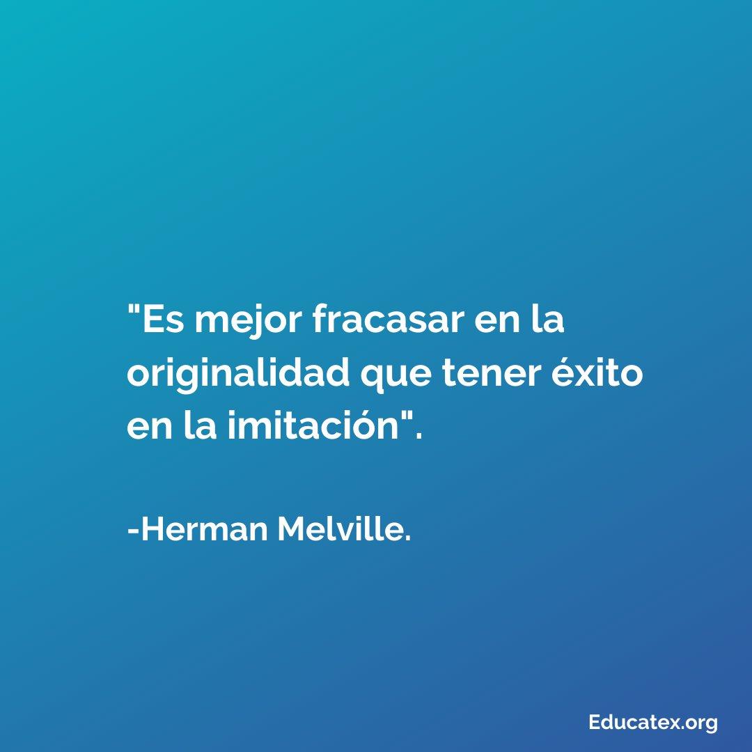 """""""Es mejor fracasar en la originalidad que tener éxito en la imitación"""". -Herman Melville. . Frase del día . Para más conocimiento util @educate.x⠀ #educatex #curiosidades #curiosidadesnerds #curiosidadesemae #frase #pensamientopic.twitter.com/tj4exzaYZ7"""