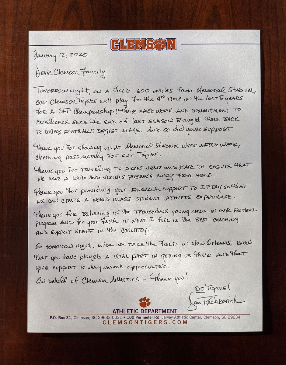 Dear #ClemsonFamily,  Thank you. <br>http://pic.twitter.com/3uCcBjy5ov