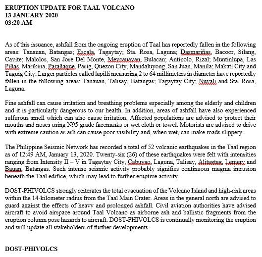 ERUPTION UPDATE FOR TAAL VOLCANO 13 JANUARY 2020 03:20 AM #TaalVolcano #TaalEruption2020