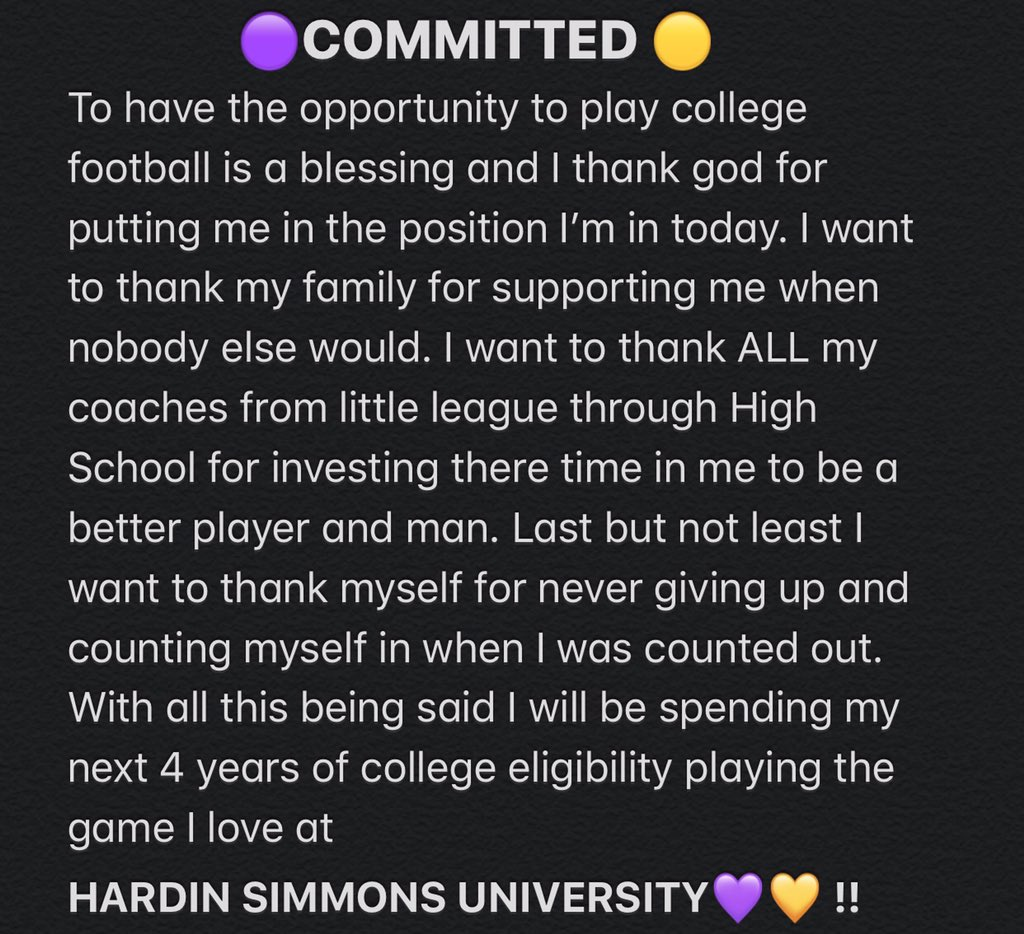 HARDIN SIMMONS UNIVERSITY FOOTBALL COMMIT ‼️
