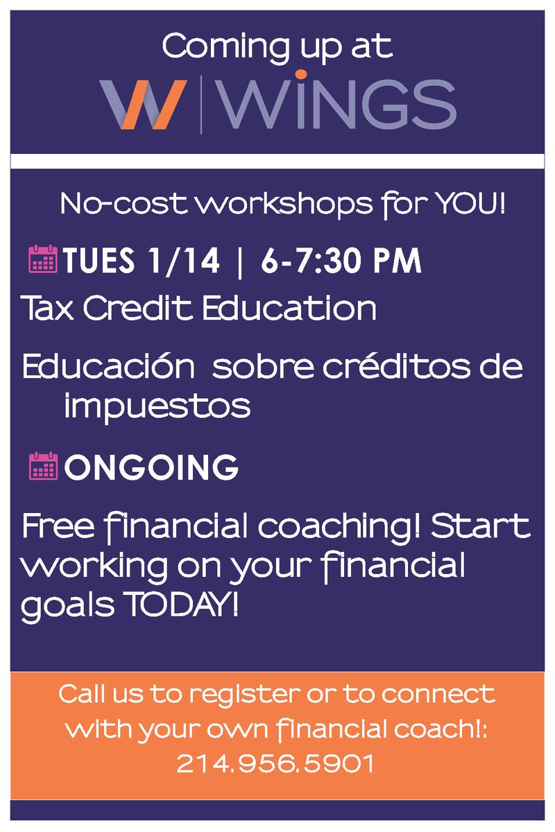 test Twitter Media - Come learn about the Tax Credits that you can receive when you file taxes. Get info on getting your taxes done for FREE. English & Spanish! Sign up at https://t.co/fY5qYSR96X or call 214.956.5901.  Schedule to meet with a financial coach: https://t.co/k5v8H9zrb8 #financialgoals https://t.co/V2T7bP6LTt