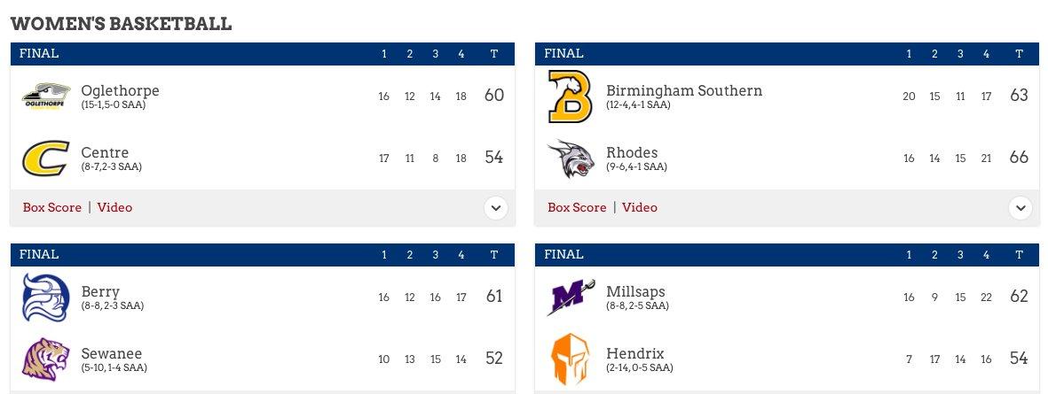 🏀🗑️ | @SAA_Sports Scoreboard - Women's Basketball - #SAA #d3hoops