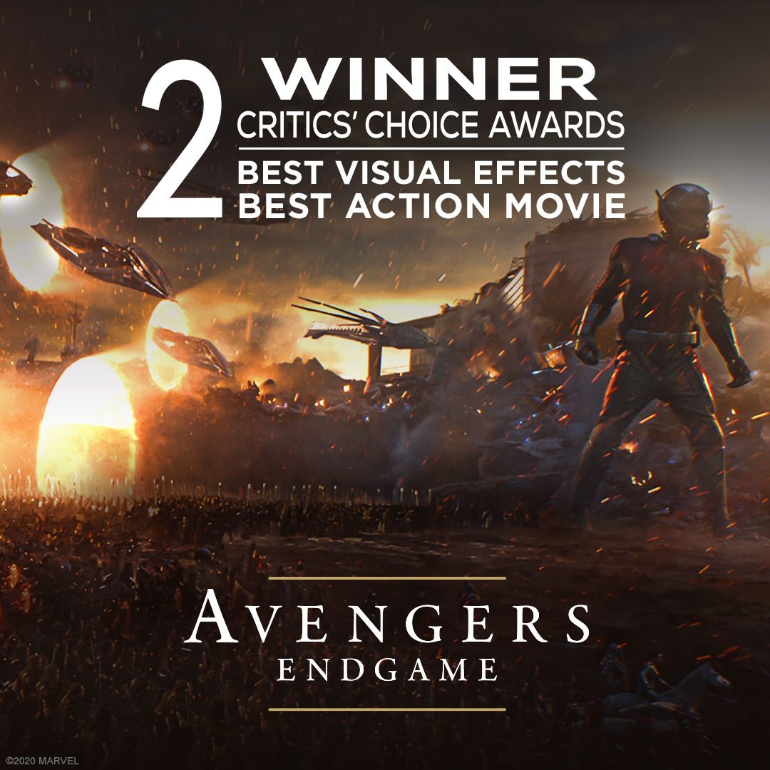 Congratulations to Marvel Studios' Avengers: Endgame for their 2 #CriticsChoice Awards including Best Action Movie and Best Visual Effects