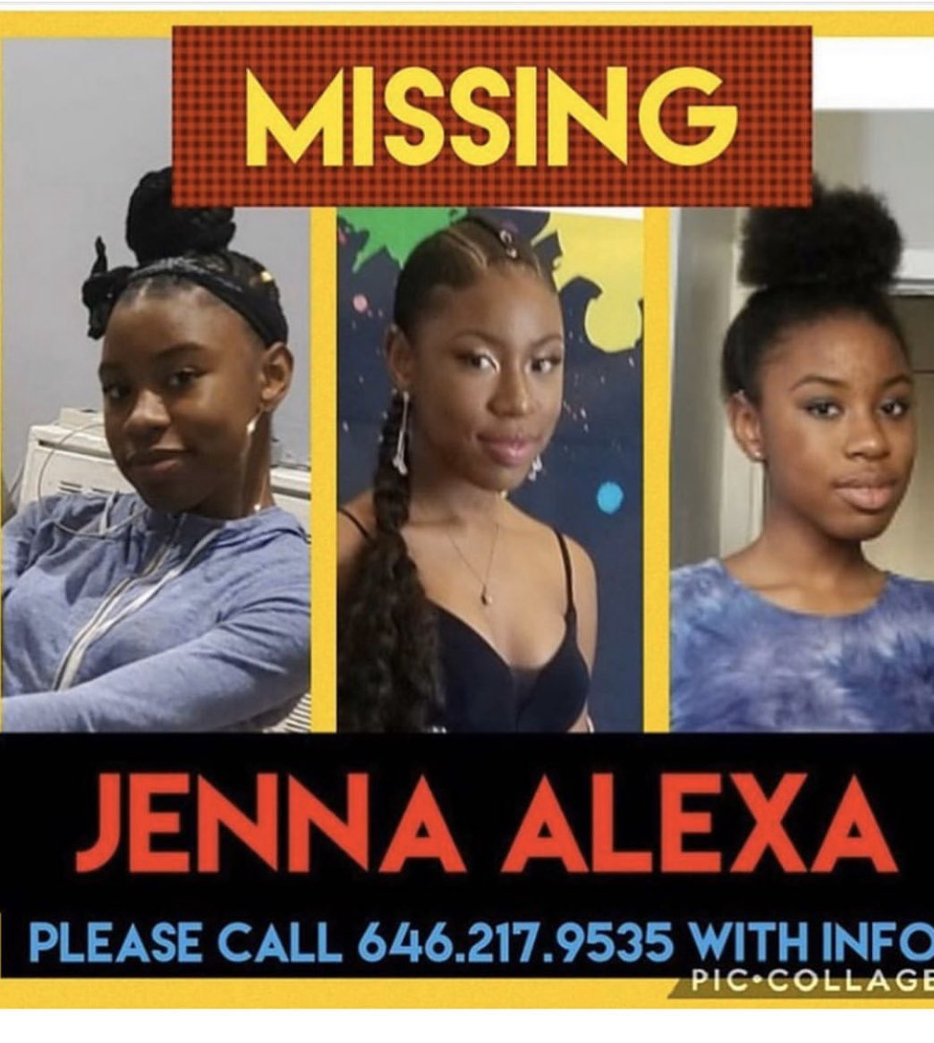 NEW YORKERS. please keep an eye out. jenna is only 14. 🙏🏻
