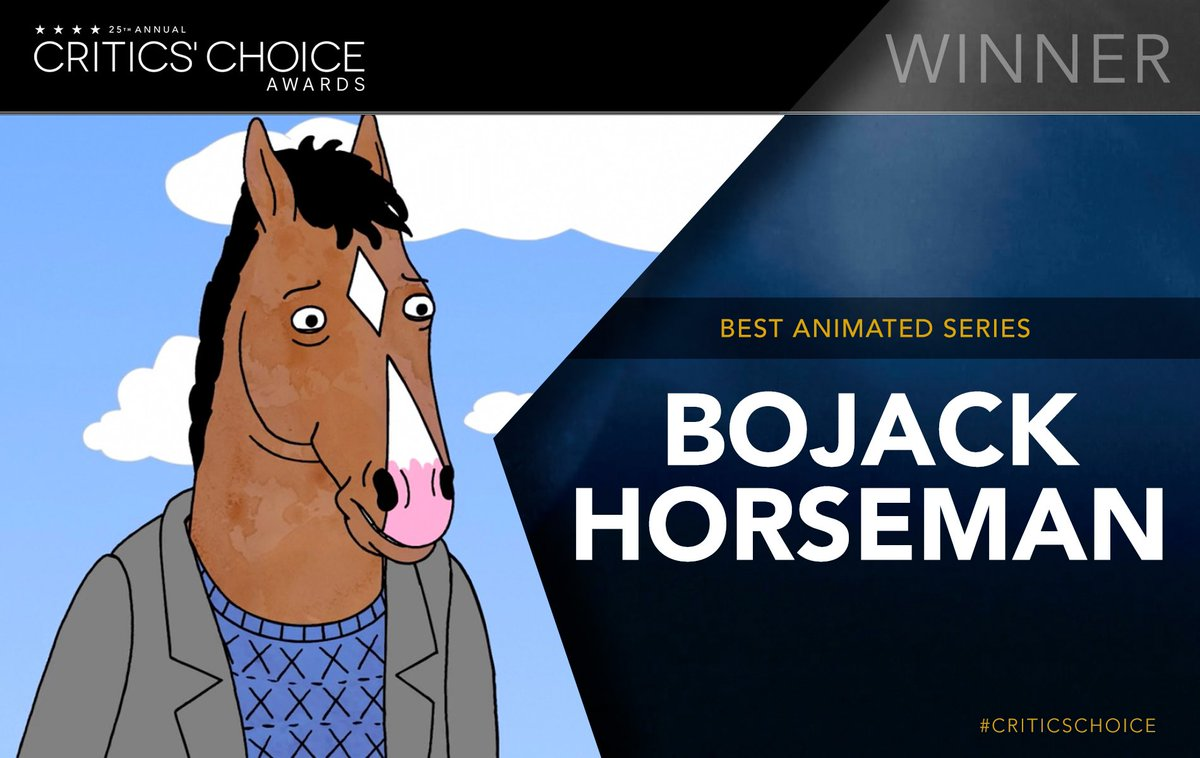 @BoJackHorseman wins the #CriticsChoice Award for Best Animated Series. #BojackHorseman