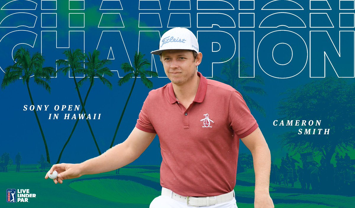 Aloha, winner's circle. 🌺🏆  @CamSmithGolf claims the @SonyOpenHawaii.  It's his second PGA TOUR victory.  #LiveUnderPar