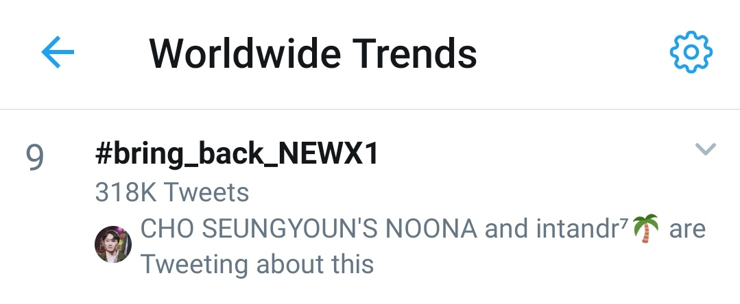 It's finally enter no. 9 of worldwide trend now. Let's rise it higher #새로운_엑스원_결성지지 #bring_back_NEWX1 <br>http://pic.twitter.com/LnBjTbAGxx