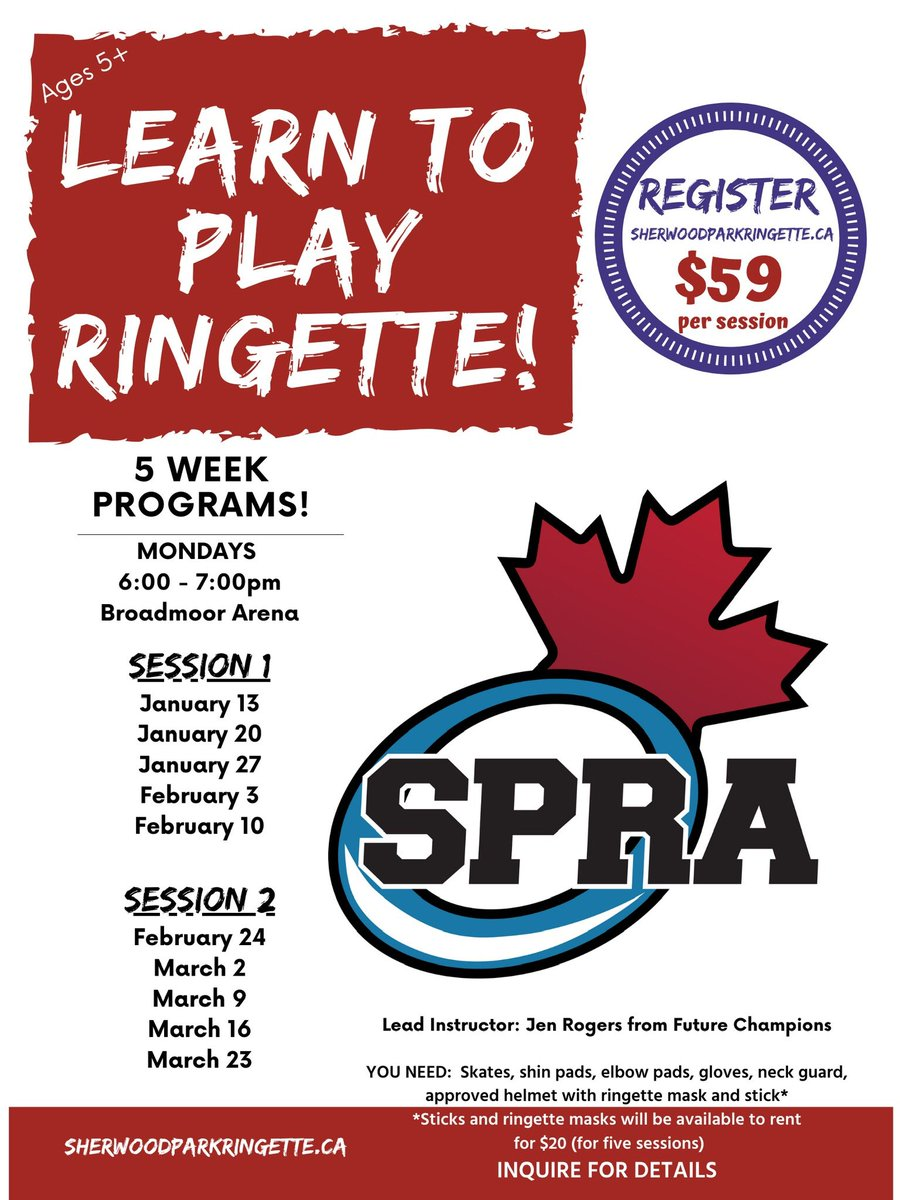 Session 1 Learn to Play starts tomorrow!       Session 2 Starts February 24th!    Register now at http://www.sherwoodparkringette.ca .  #spra #ringetterocks pic.twitter.com/R2w6woW0W9