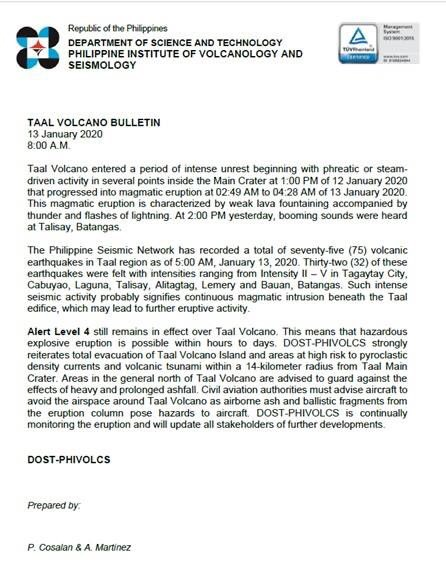 TAAL VOLCANO BULLETIN 13 January 2020, 08:00 A.M. #TaalVolcano #TaalEruption2020