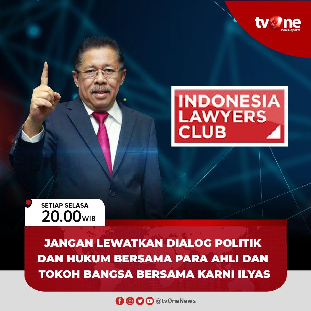 Jangan lewatkan program dialog Indonesia Lawyers Club bersama Karni Ilyas. Setiap Selasa pukul 20.00 WIB hanya di tvOne & streaming tvOne Connect android http://bit.ly/2EMxVdm & ios http://apple.co/2CPK6U3. #ILCtvOnepic.twitter.com/iK6BFhtBBu