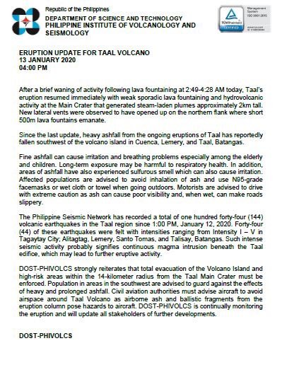 READ: ERuption update for #TaalVolcano 13 January 2020, 04:00PM