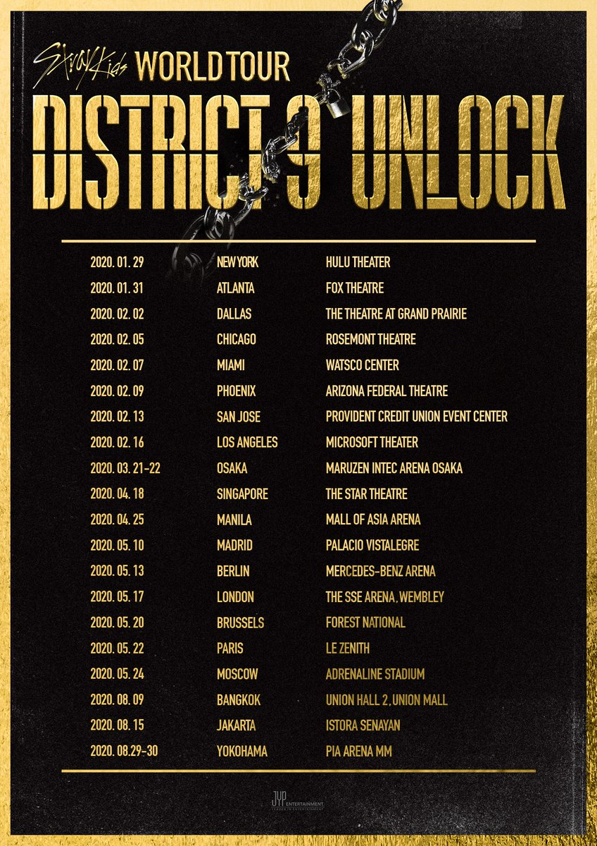 Stray Kids(스트레이 키즈)  World Tour 'District 9 : Unlock'  Announcement Part 2  OSAKA SINGAPORE MANILA MADRID BERLIN LONDON BRUSSELS PARIS MOSCOW BANGKOK JAKARTA YOKOHAMA  #StrayKids #스트레이키즈  #District9_Unlock #YouMakeStrayKidsStay #StrayKidsComeback <br>http://pic.twitter.com/CmRsLksltC