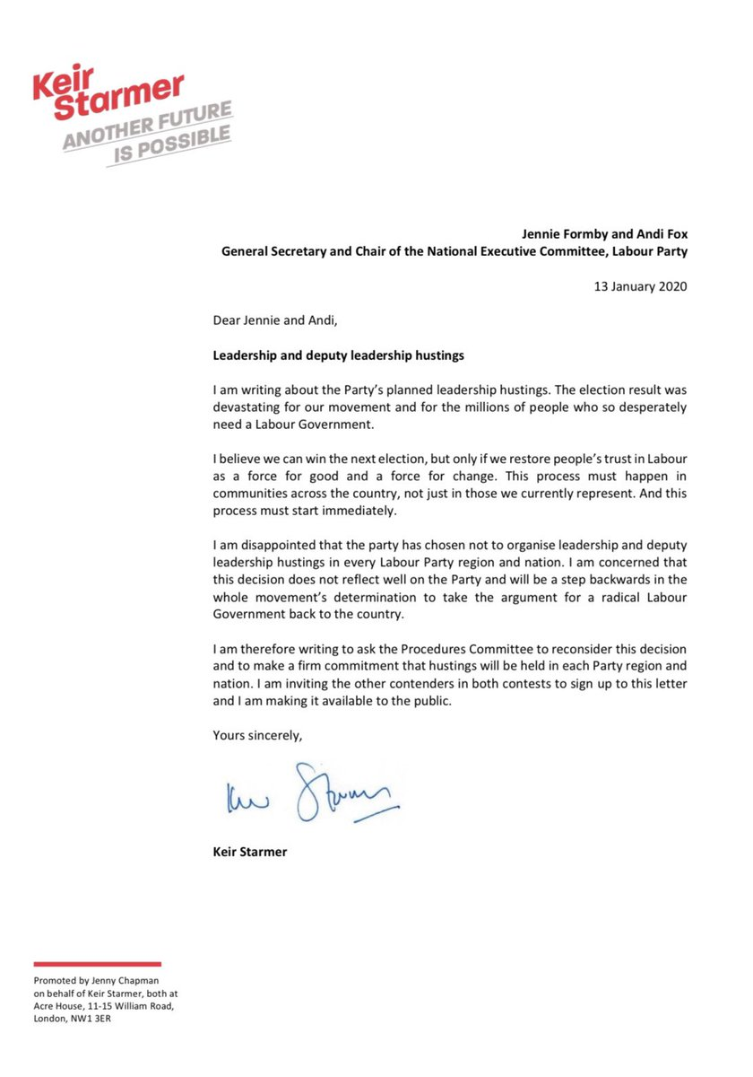 I have written to the Party asking that it makes a firm commitment to hold leadership and deputy leadership hustings in each region and nation we seek to represent. I am inviting the other contenders in both contests to sign up to this letter.