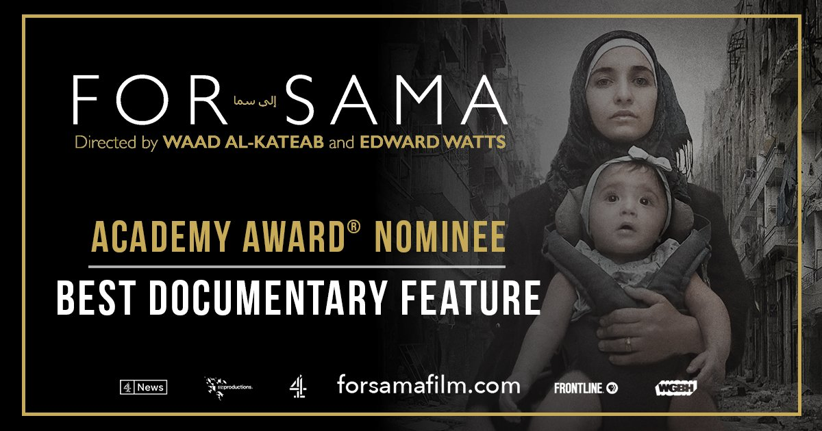 Today's good news is a reflection of the support from all of you, our friends near and far, who have connected with #ForSama and the story it tells. We are humbled by our nomination and excited to be on this journey with you. #Oscars #OscarNoms