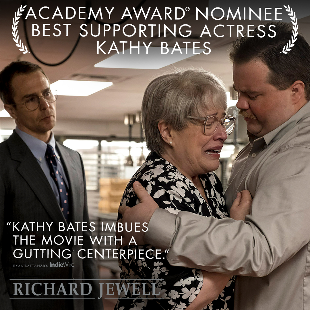 Congratulations to Kathy Bates on her Oscar nomination for Best Supporting Actress in #RichardJewell! #OscarNoms