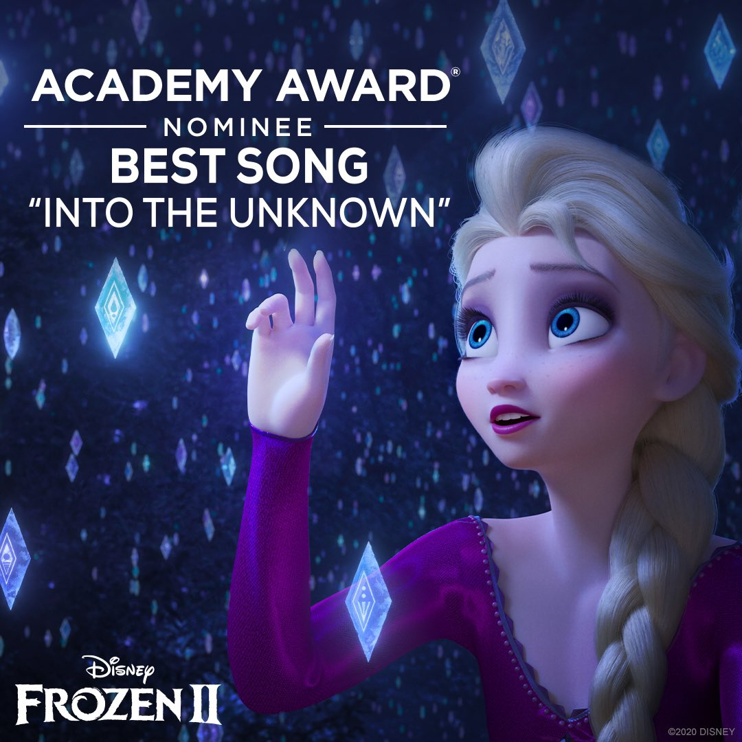 "Congratulations to #Frozen2  for receiving an Academy Award nomination for Best Song – ""Into the Unknown."" #OscarNoms <br>http://pic.twitter.com/4eqnV3pPnJ"