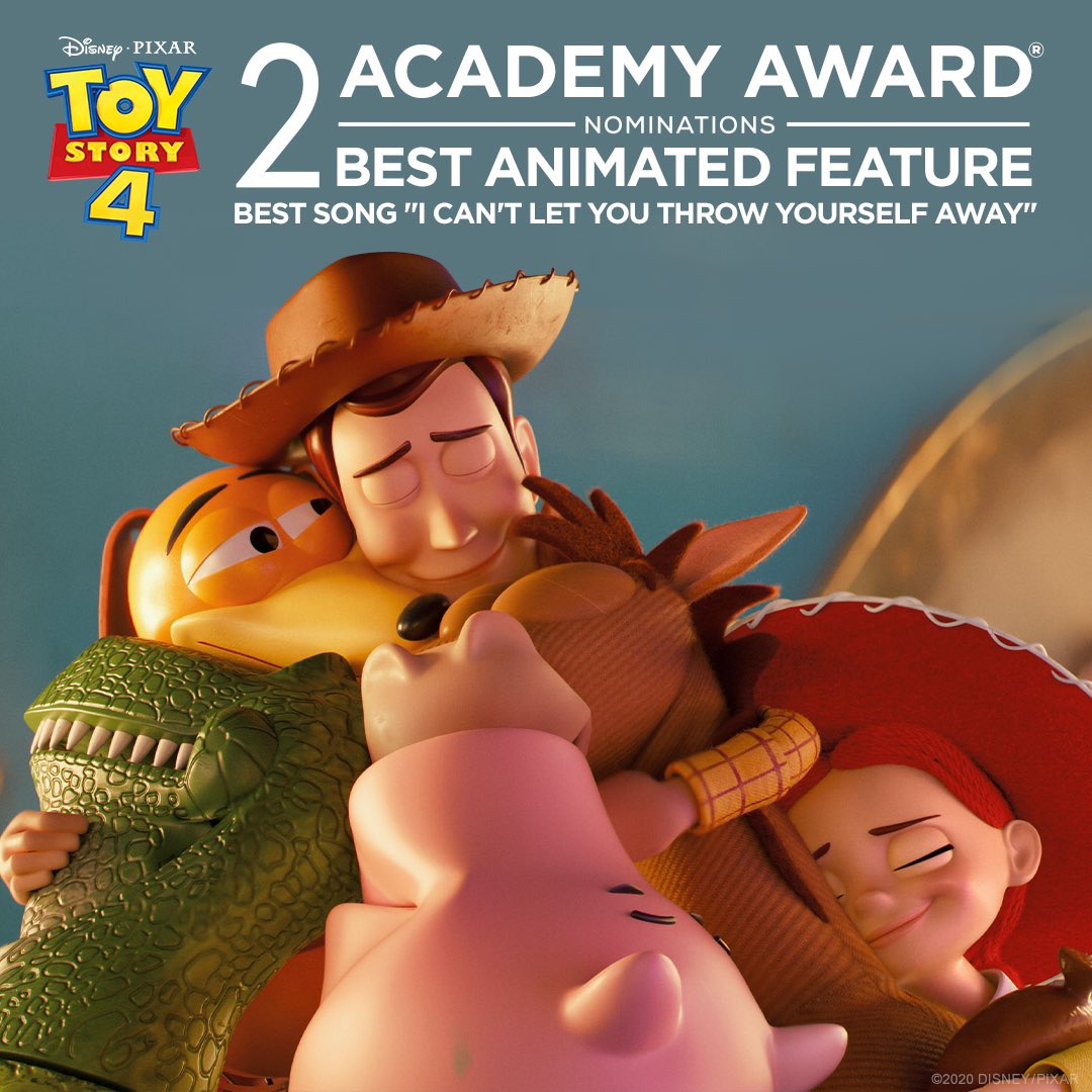 """Congratulations to Toy Story 4 for receiving 2 Academy Award nominations: Best Animated Feature and Best Song – """"I can't Let You Throw Yourself Away""""! #OscarNoms https://t.co/3We704GOyw"""
