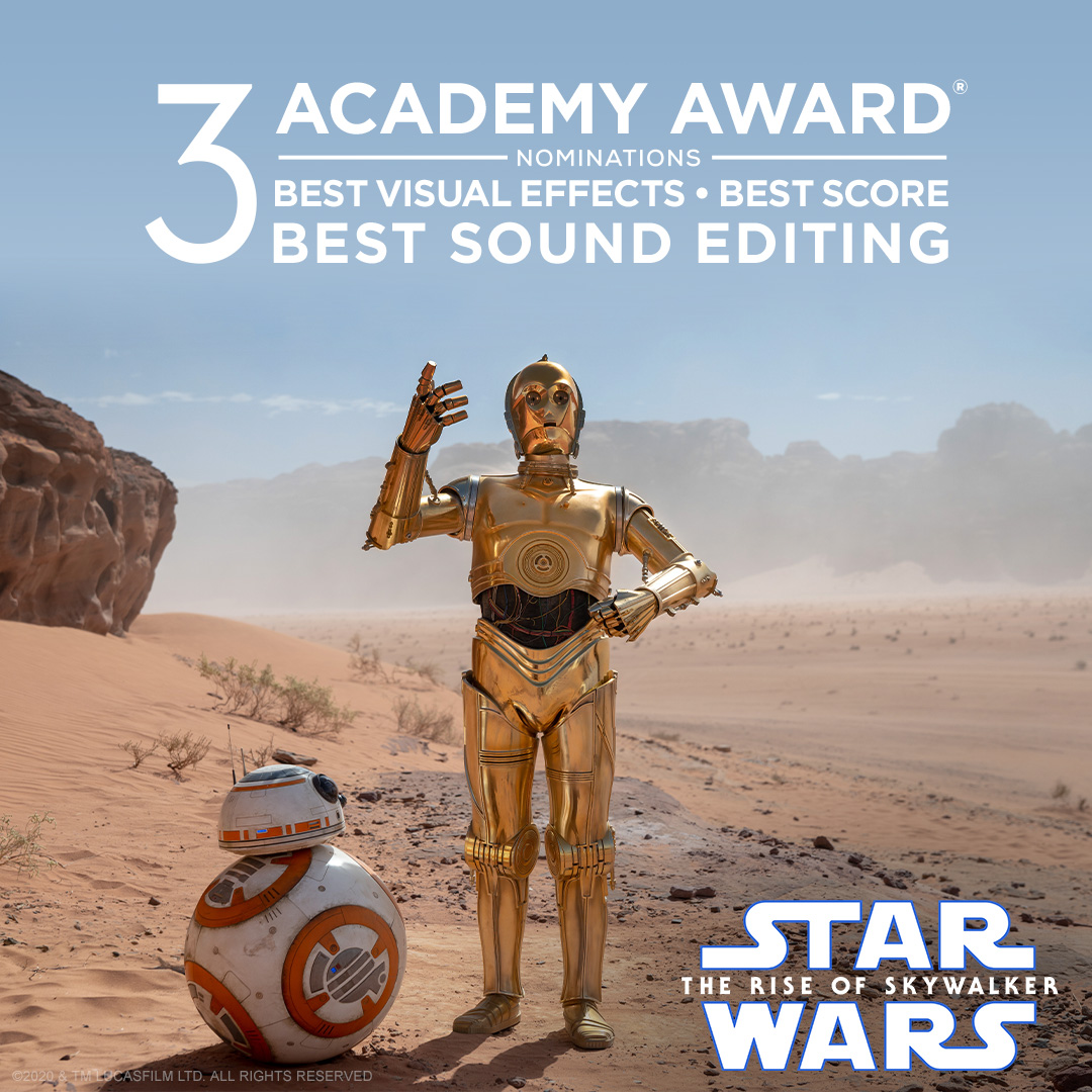 Star Wars: #TheRiseOfSkywalker has been nominated for 3 Academy Awards for Best Visual Effects, Best Score, and Best Sound Editing. Congratulations! #OscarNoms