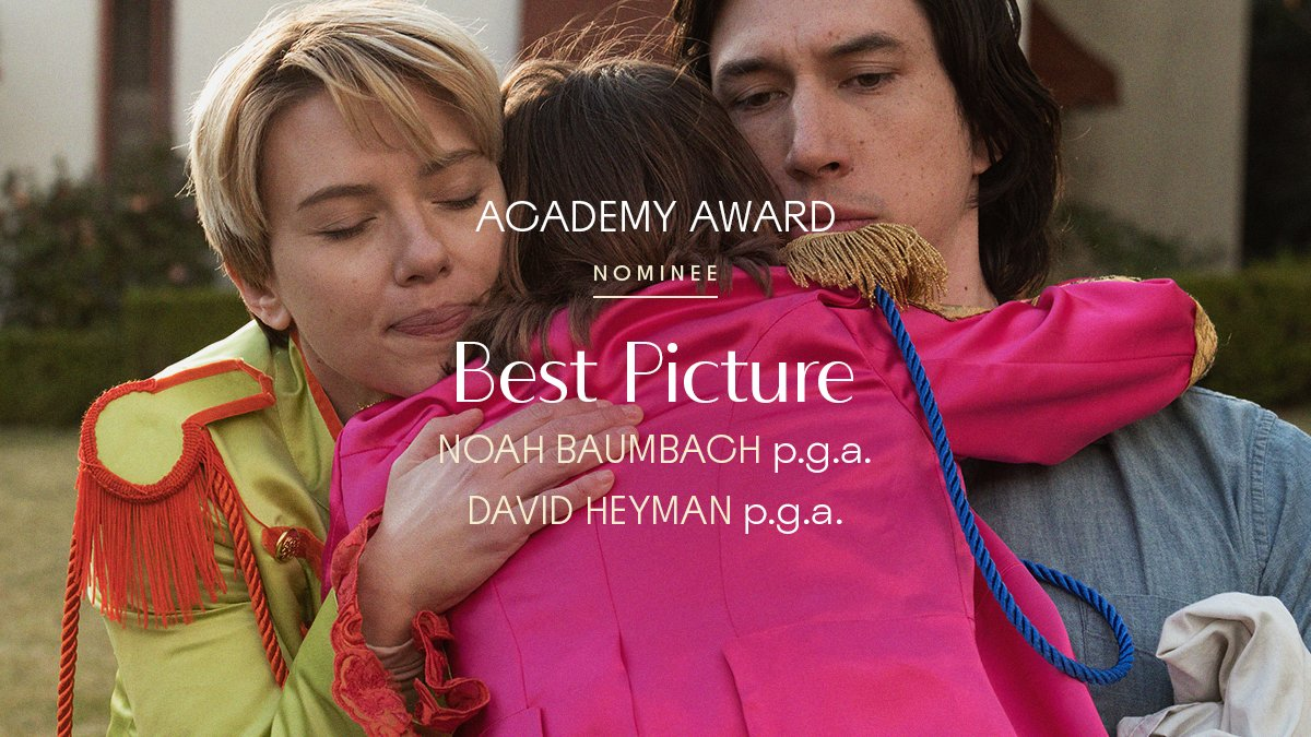 RT @MarriageStory: @TheAcademy Official Nominee: #MarriageStory, Best Picture, #OscarNoms. https://t.co/ru1GZtM6ay