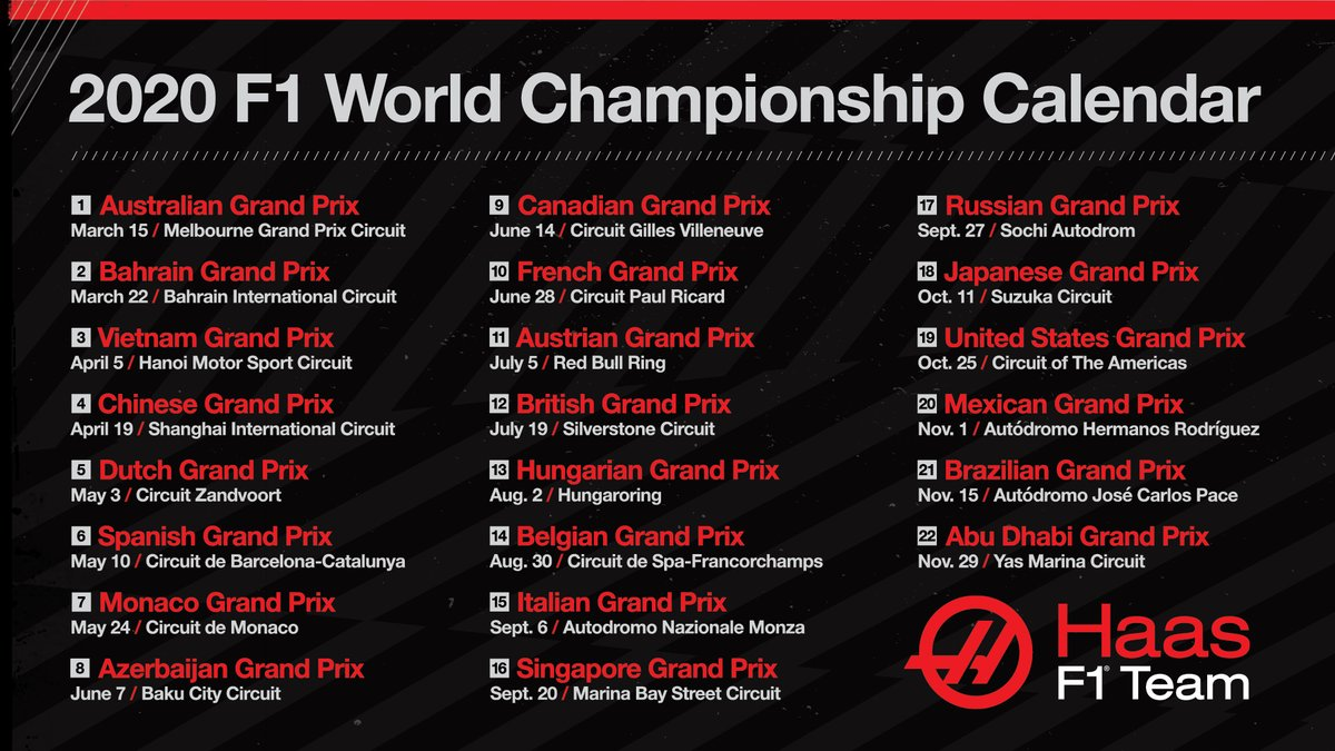 2020 INCOMING!  It's a record-breaking 22 race season on the way this year 😱  Which ones are you looking forward to the most? Drop a flag below 👇