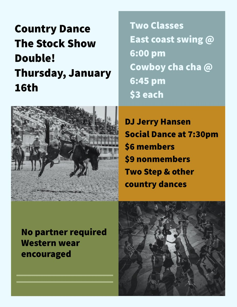Country dancing, lessons, DJ'd music and the stock show this week! We have a great Thursday planned. Come on out! #denverstockshow #denvercountrydancing #denverdatenight #denvertwostep #countrydancingpic.twitter.com/fguWh7DFcL