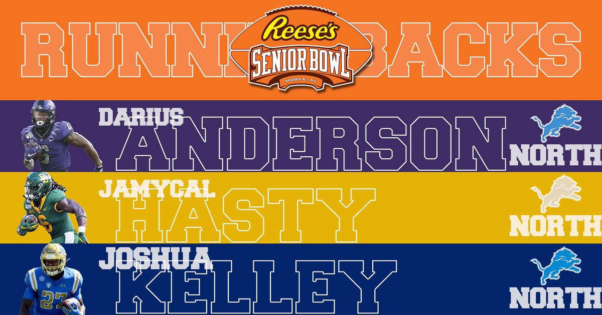 🚨Announcing the #Lions 2020 @seniorbowl North squad RB group:  #TheDraftStartsInMOBILE