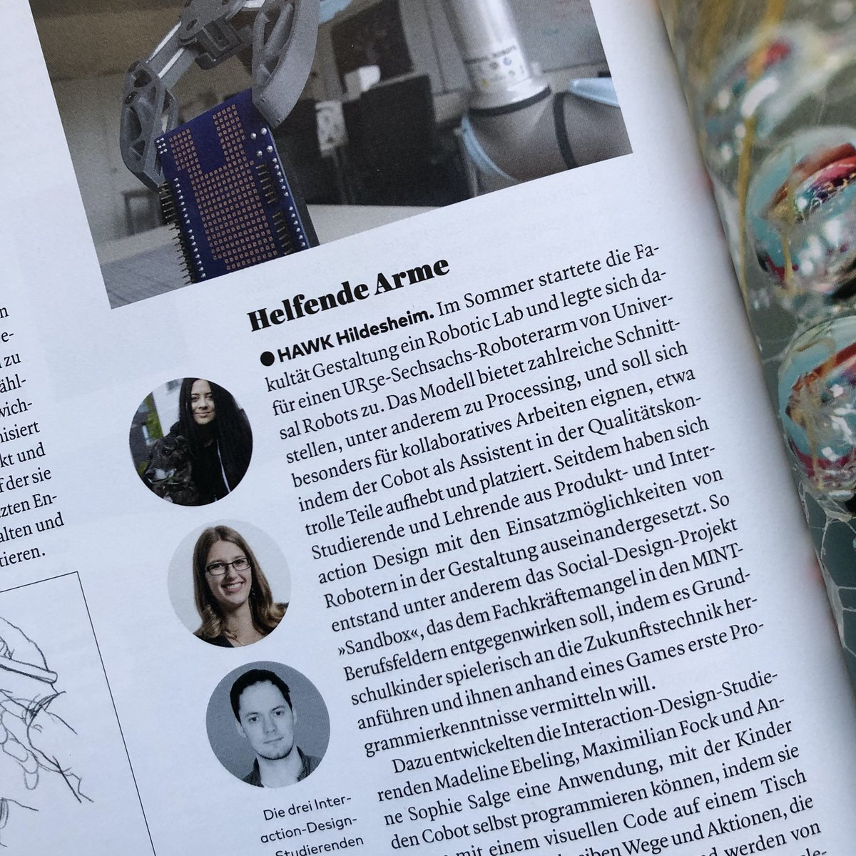 Nice one! Die aktuelle PAGE @pageMag berichtet über unser neues Robotic Lab und den Cobot, den Madeline, Anne und Max entwickelt haben.   #HIIxD #DesignEducation  #IxD #InteractionDesign #PhysicalComputing #Educationpic.twitter.com/SXs7PqQutr
