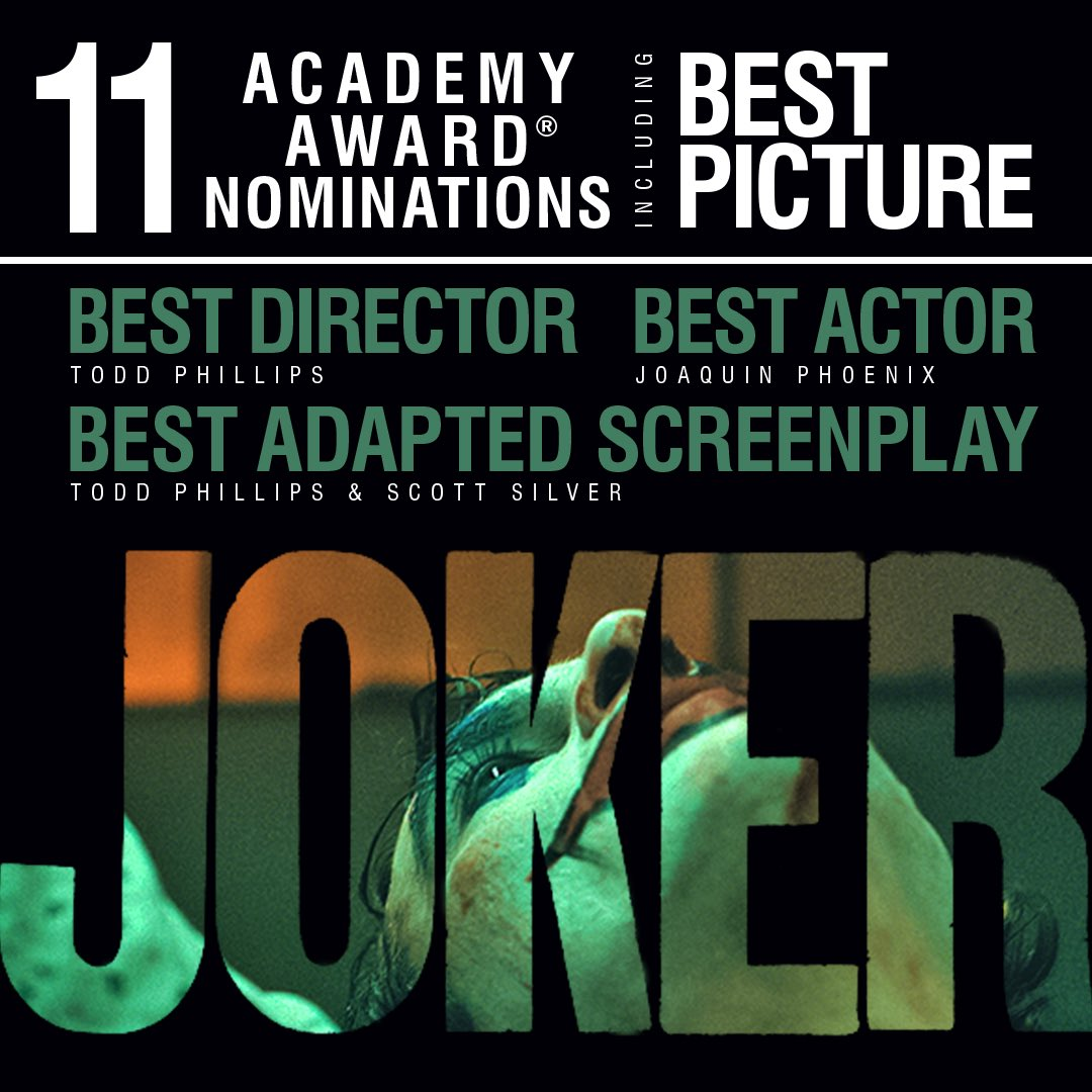 Congratulations to the incredible filmmakers and cast of #Joker on their 11 #OscarNoms, including Best Picture, Best Director, and Best Actor.
