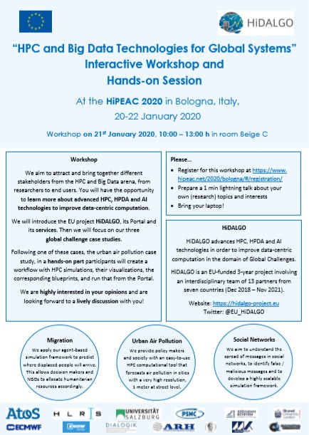 El proyecto @EU_HiDALGO realizará un #workshop sobre #HPC y #BigData en el evento #HiPEAC2020...