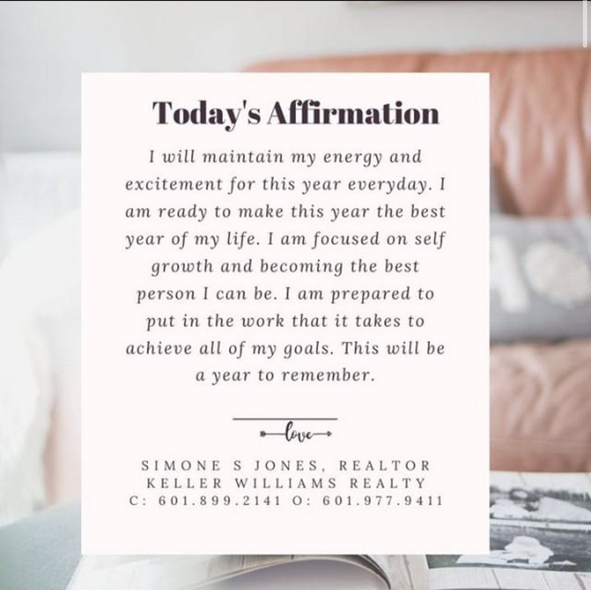 Say aloud. Own it. Believe in yourself. Remind yourself you got this! #turningdreamsintoreality #realestate #realestateagent #realtor #realtorlife #realestateinvesting #mississippi #mississippirealestate #mississippirealtor #missississippirealestateagent #explorepagepic.twitter.com/IdlASOuy0Q