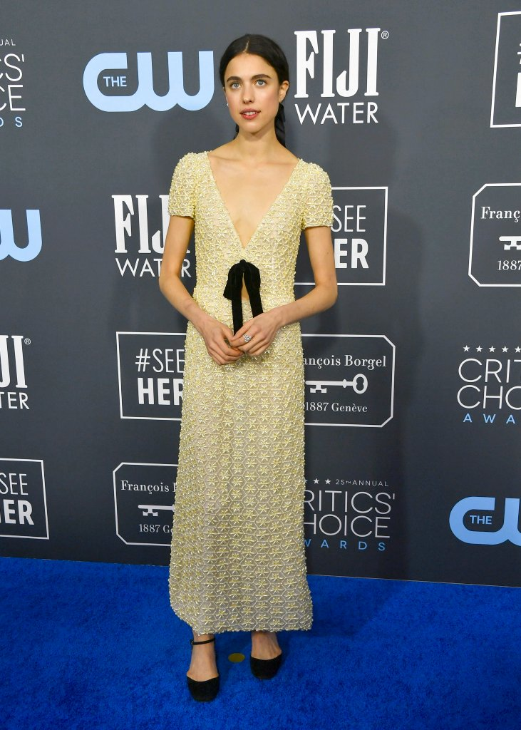 Margaret Qualley wore a #MiuMiu embroidered dress with bow detail + #ChanelFineJewelry to the 2020 Critics' Choice Awards. #CriticsChoice #Chanel