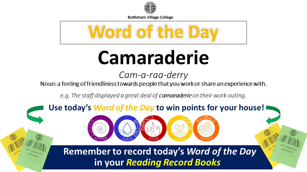 Today's #wordoftheday is CAMARADERIE. Noun: a feeling of friendliness towards people that you work or share an experience with pic.twitter.com/Q9Qslfcp0I