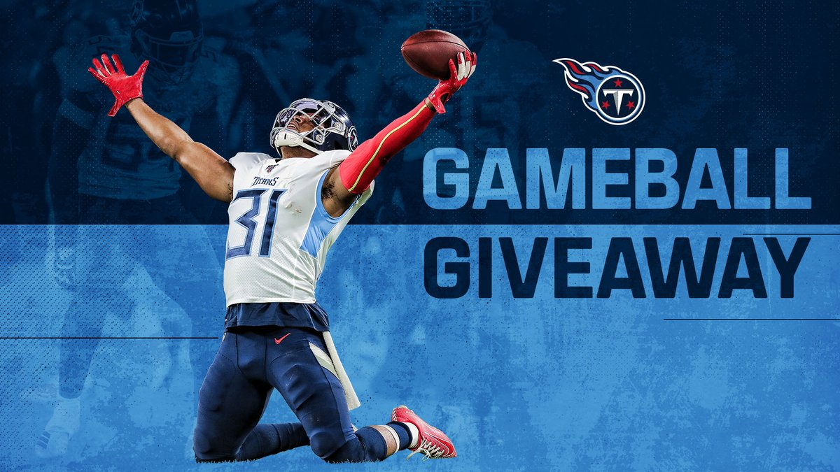 #Titans Game Ball Giveaway 🏈RETWEET and follow @Titans for the chance to win an official game ball from our victory over the Ravens.