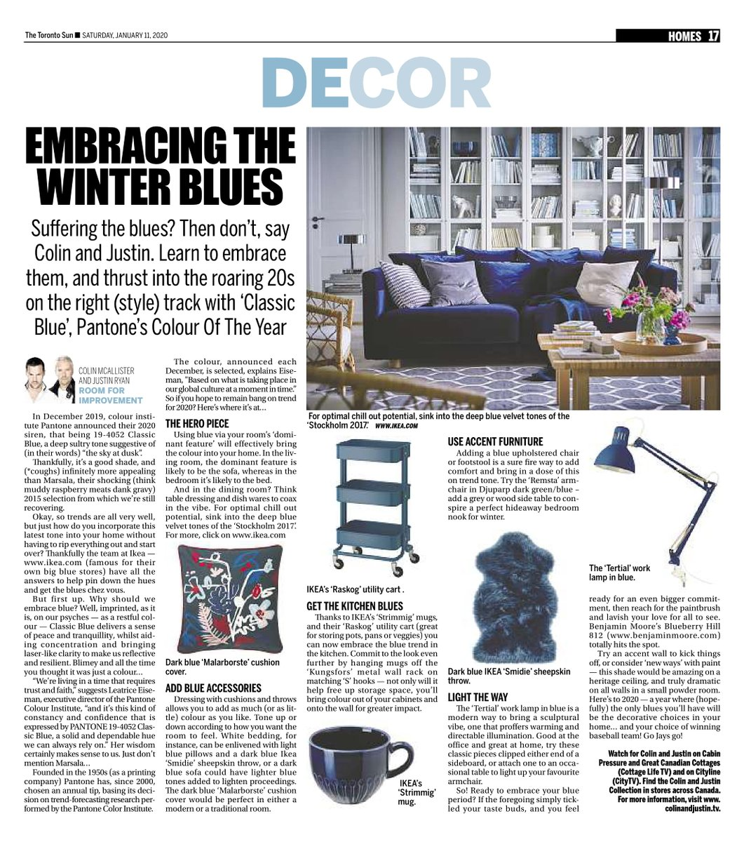 Still working the blue vibe - here's our column from Saturday's @TheTorontoSun with more info. And, thank God, not a hint (in pictorial terms, at least) of Marsala... #pantone @IKEACanada @BenjaminMooreCA https://t.co/2cCLish8Og
