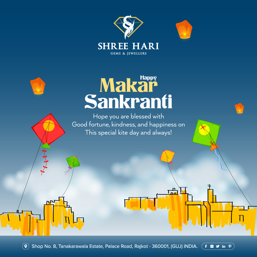 Happy Makar Sankranti, Hope you are blessed with Good fortune, kindness, and happiness on this special kite day and always! . . . #HappyMakarSankranti #MakarSankranti #Sankranti #Uttarayan #Kites #ShreeHari #ShreeHariJewellers #Jewellers #Collection #Gold #Silver #JewelryArt