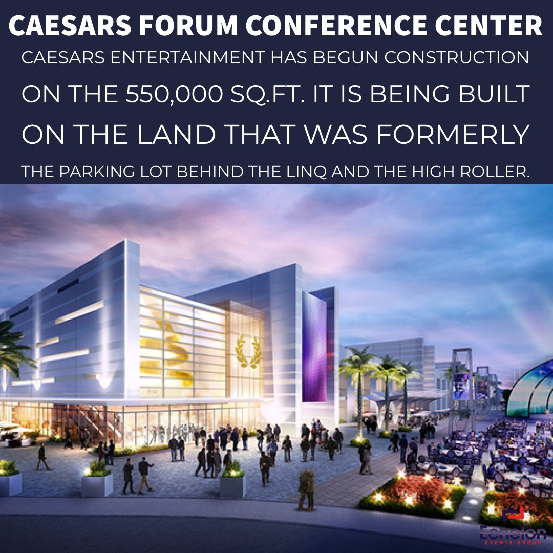 Caesars Entertainment has begun construction on the 550,000 sq.ft. #CaesarsFORUMConferenceCenter. It is being built on the land that was formerly the parking lot behind The Linq and the High Roller. #eventplanner #vegas #lasvegas #caesarsentertainment #caesarspalacepic.twitter.com/7yJ6OacYT3